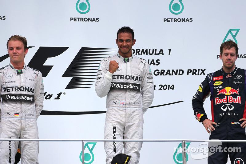 2014 : 1. Lewis Hamilton, 2. Nico Rosberg, 3. Sebastian Vettel