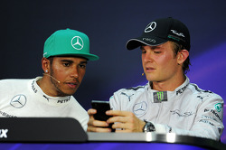 The FIA Press Conference, Mercedes AMG F1 with team mate Nico Rosberg, Mercedes AMG F1