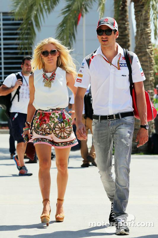 Adrian Sutil, Sauber with his girlfriend Jennifer Becks