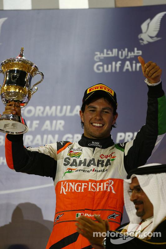 terceiro colocado Sergio Perez, Sahara Force India F1