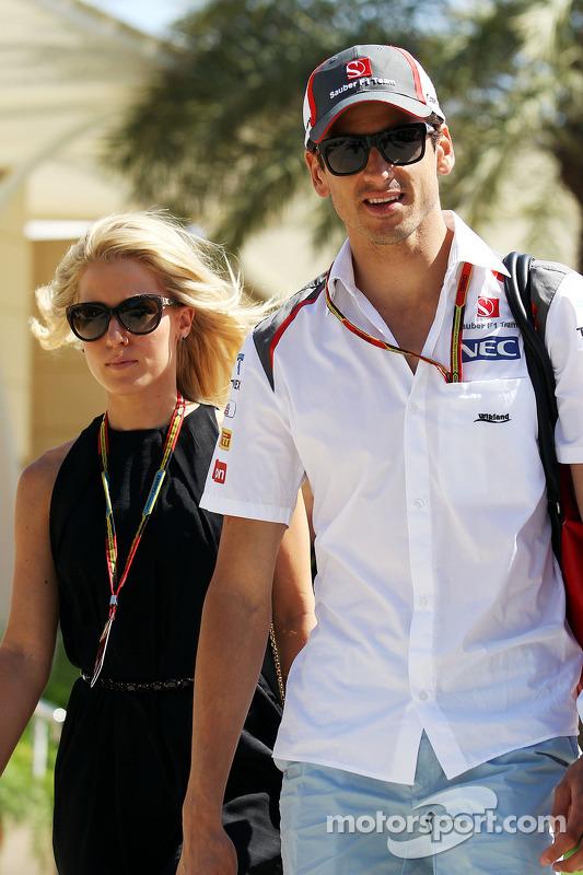 Adrian Sutil, Sauber, mit Freundin Jennifer Becks