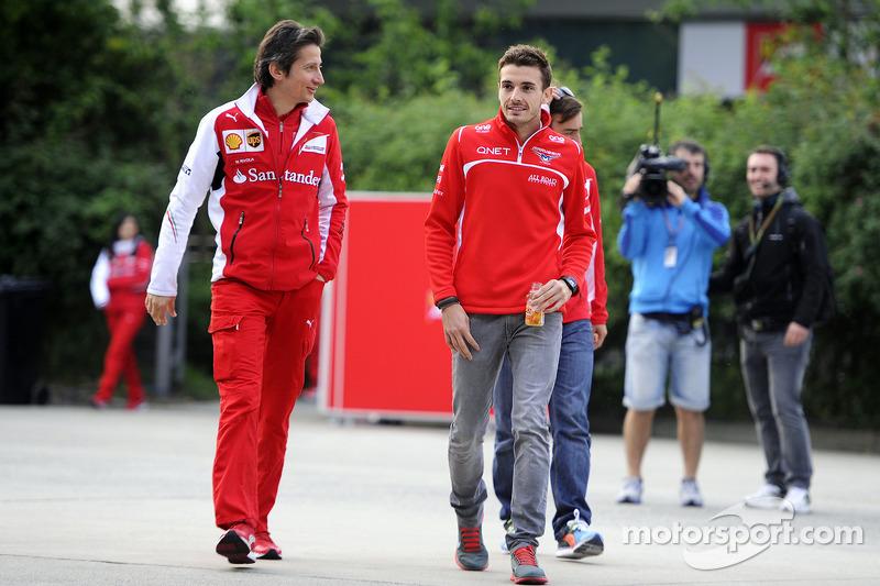 (L to R): Massimo Rivola, Ferrari Sporting Director with Jules Bianchi, Marussia F1 Team