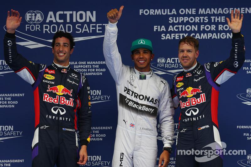 Pole per Lewis Hamilton, Mercedes AMG F1, secondo posto Daniel Ricciardo, Red Bull Racing RB10 e ter