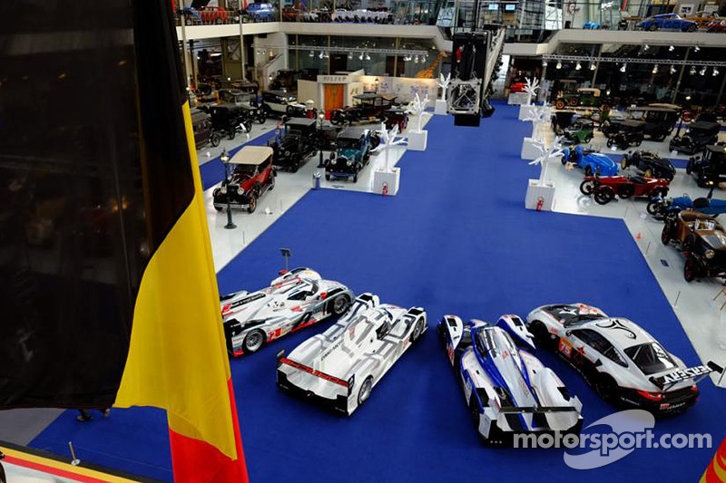 A Porsche 911 RSR, Toyota TS040 Hybrid, Porsche 919 Hybrid and Audi R18 e-tron quattro on display at