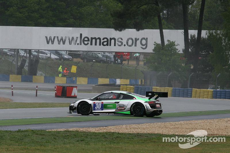 Testacoda per la #30 Team Speed Car Audi R8 LMS Ultra: Pascal Destembert, Rémy Deguffroy