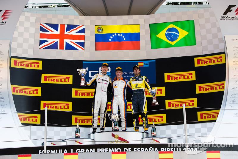 El podio: El ganador de la carrera Johnny Cecotto, el segundo lugar para Jolyon Palmer y el tercer puesto para Felipe Nasr