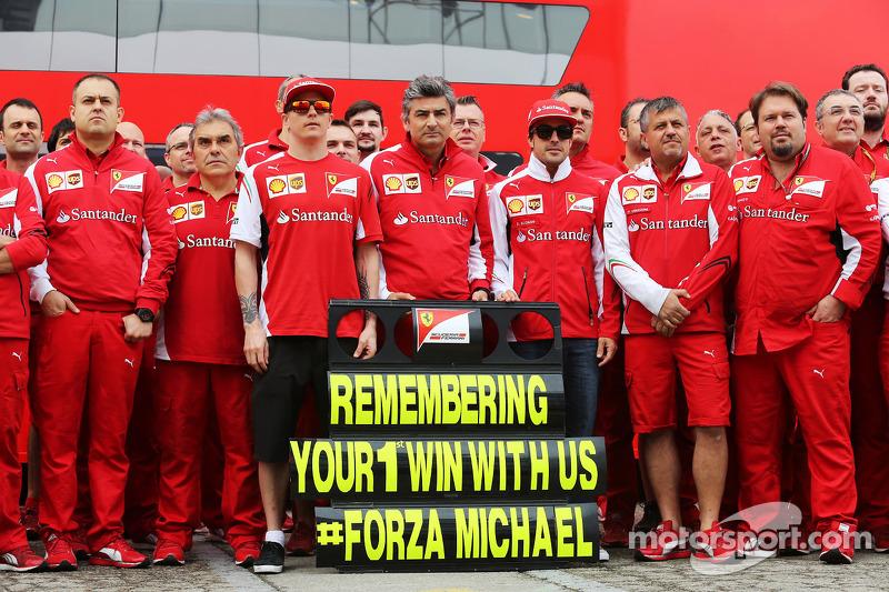 (L to R): Kimi Raikkonen, Ferrari, Marco Mattiacci, Ferrari Team Principal, Fernando Alonso, Ferrari