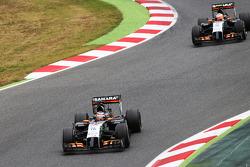 Nico Hulkenberg, Sahara Force India F1 VJM07 leads team mate Sergio Perez, Sahara Force India F1 VJM07