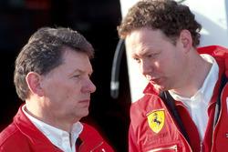 John Barnard, Ferrari Chief Designer, with Mike Coughlan, Ferrari Design Project Leader