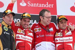 Podium: race winner Fernando Alonso, Ferrari, second place Kimi Raikkonen, Lotus F1, and third place Felipe Massa, Ferrari, Stefano Domenicali, Ferrari General Director