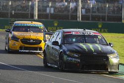 Cameron Waters, Tickford Racing Ford, leads Tim Slade, Brad Jones Racing Holden