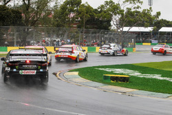 The Safety Car leads Jamie Whincup, Triple Eight Race Engineering Holden, Scott McLaughlin, DJR Team Penske Ford, Fabian Coulthard, DJR Team Penske Ford, and Cameron Waters, Tickford Racing Ford