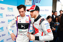 Alex Lynn, DS Virgin Racing, talking to Edoardo Mortara, Venturi Formula E Team, in the media pen