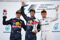Race winner Daniel Ricciardo, Red Bull Racing, second place Max Verstappen, Red Bull Racing, third place Nico Rosberg, Mercedes AMG F1