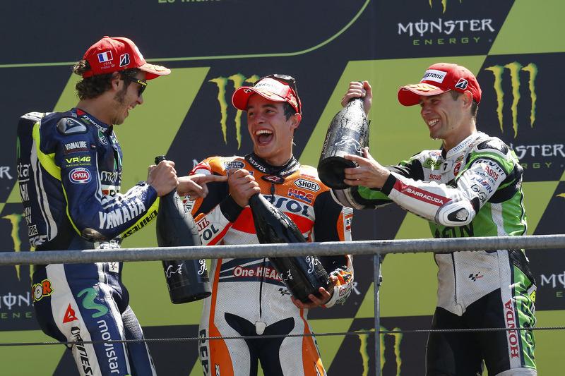 2014: 1. Marc Marquez, 2. Valentino Rossi, 3. Alvaro Bautista