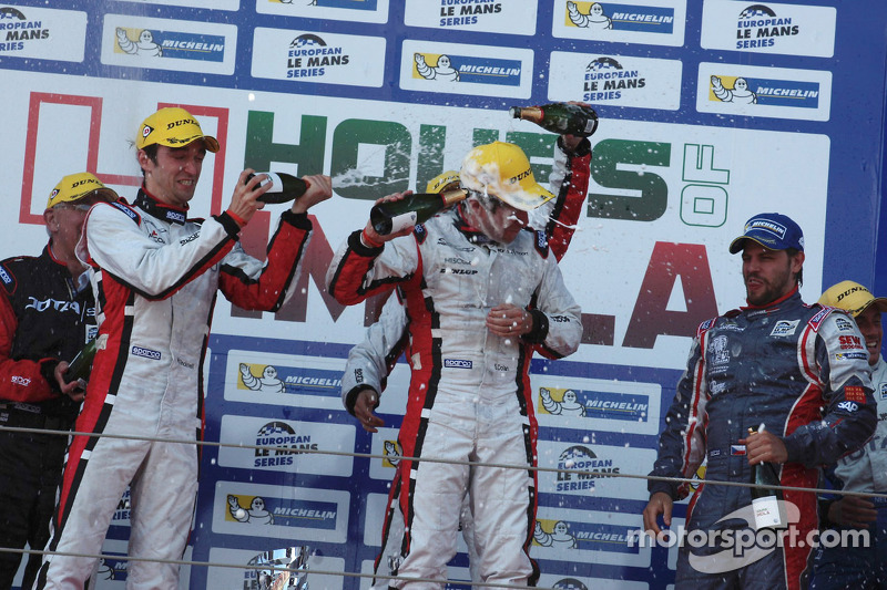 Podium: race winners Simon Dolan, Harry Tincknell, Filipe Albuquerque