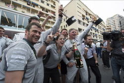 The Mercedes AMG F1 celebrate a 1-2 finish at the podium