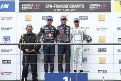 Podium: race winner Carlos Sainz Jr., second place Pierre Gasly, third place Jazeman Jaafar