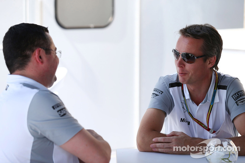 Eric Boullier, McLaren Racing Director with Sam Michael, McLaren Sporting Director