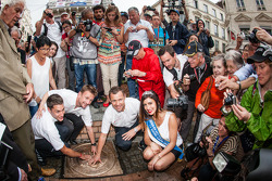 Hand imprint ceremony: 2013 24 Hours of Le Mans winners Loic Duval, Tom Kristensen and Allan McNish with Miss 24 Hours of Le Mans 2014
