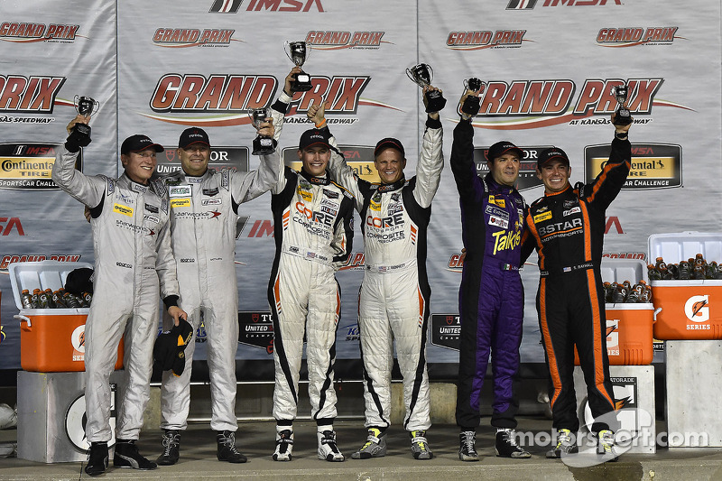 Podium: race winners Jon Bennett, Colin Braun, second place Mirco Schultis, Renger van der Zande, third place Luis Diaz, Sean Rayhall