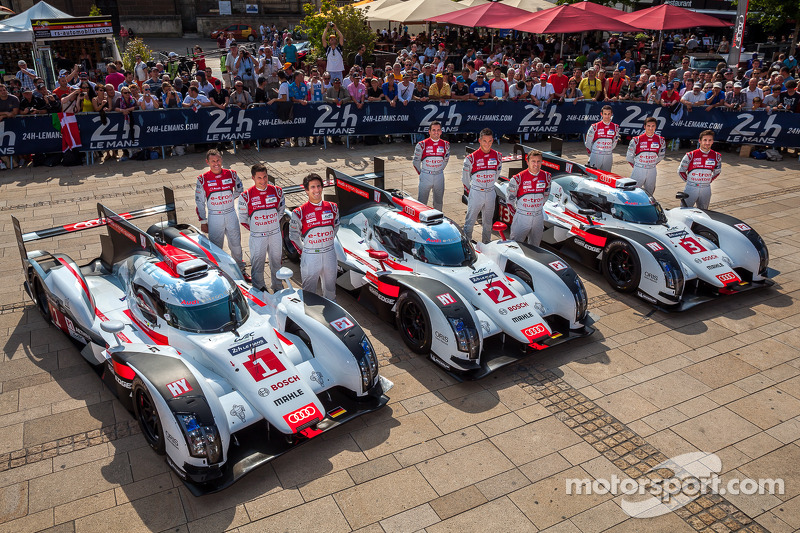 #1 Audi Sport Team Joest Audi R18 E-Tron Quattro: Lucas Di Grassi, Loic Duval, Tom Kristensen; #2 Au