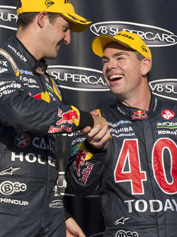 Race winner Jamie Whincup and third place Craig Lowndes