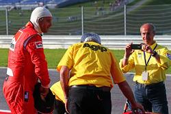 Gerhard Berger, is reunited with his Ferrari F1/87