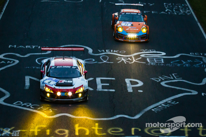 #4 Phoenix Racing 奥迪 R8 LMS ultra: 克里斯托弗·哈斯, 克里斯蒂安·马梅罗, 雷内·拉斯特, 马库斯·温克霍克, #71 Kremer Racing 保时捷 997 GT3 KR: 埃伯哈德·鲍纳赫, 大卫·施维茨