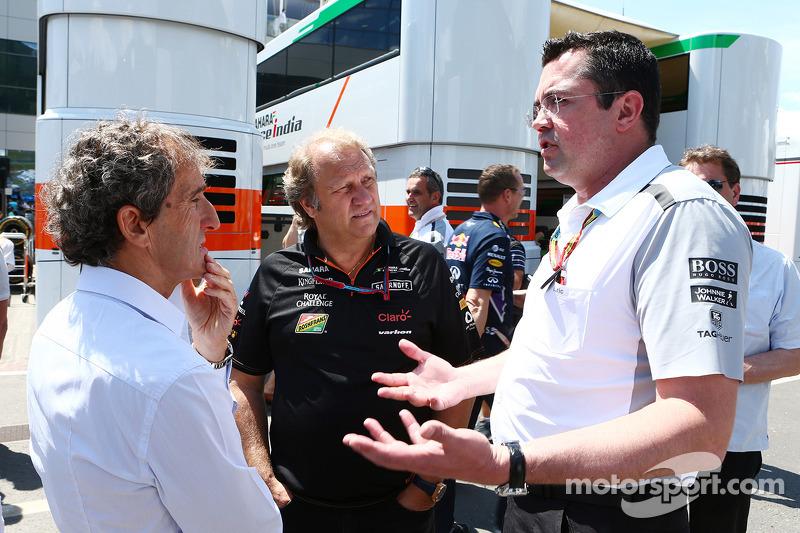 (L to R): Alain Prost, with Robert Fernley, Sahara Force India F1 Team Deputy Team Principal and Eric Boullier, McLaren Racing Director