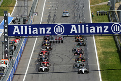 Pole sitter Felipe Massa, Williams FW36 leads at the start of the race