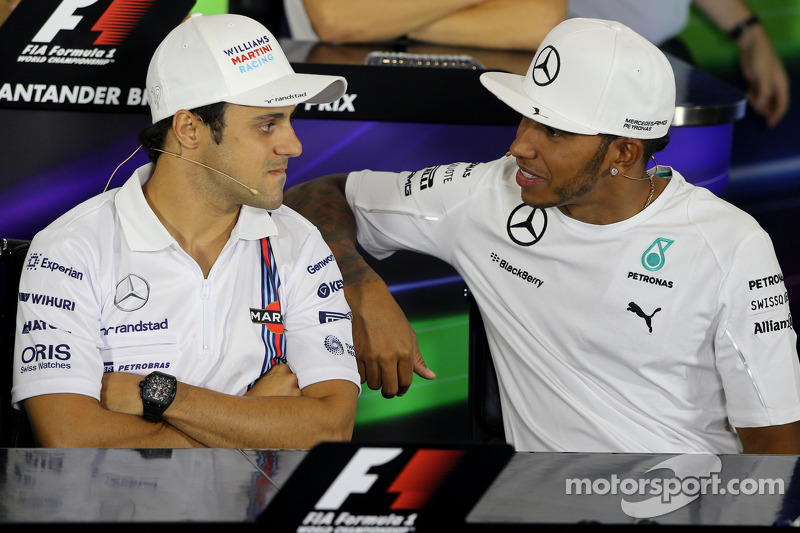 Felipe Massa, Williams F1 Takımı ve Lewis Hamilton, Mercedes AMG F1 Takımı basın konferansı sonunda