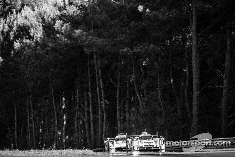 #14 保时捷运动部 保时捷 919 Hybrid: 罗曼·仲马, 尼尔·贾尼, 马克·里布, #1 奥迪运动部 Joest 奥迪 R18 E-Tron Quattro: 卢卡斯·迪格拉西, 马克·赫内, 汤姆·克里斯滕森