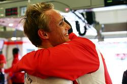 Max Chilton, Marussia F1 Team celebrates during qualifying