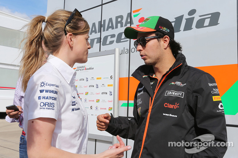 Susie Wolff, pilota collaudatrice Williams con Sergio Perez, Sahara Force India F1