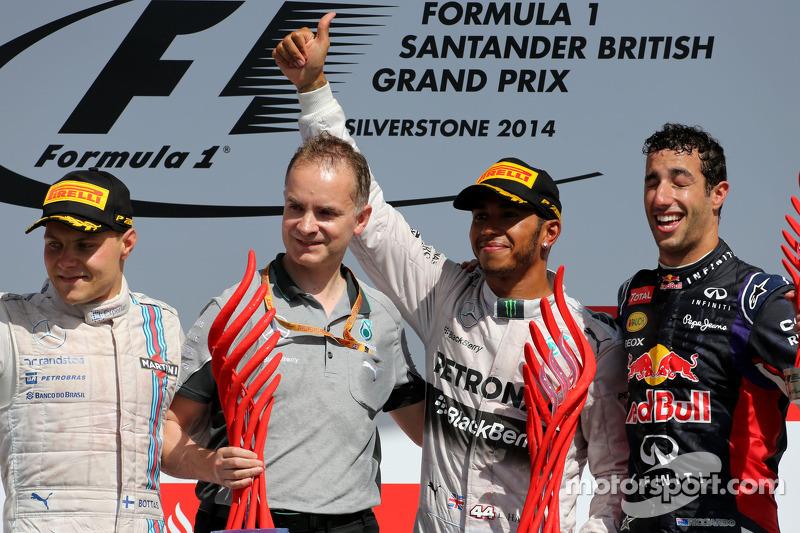Podium: Sieger Lewis Hamilton, 2. Valtteri Bottas, 3. Daniel Ricciardo