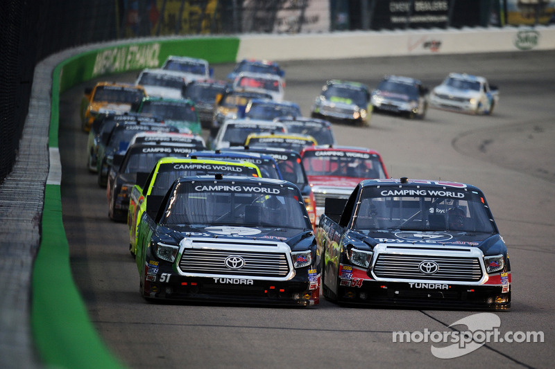Erik Jones and Darrell Wallace Jr. lead a restart