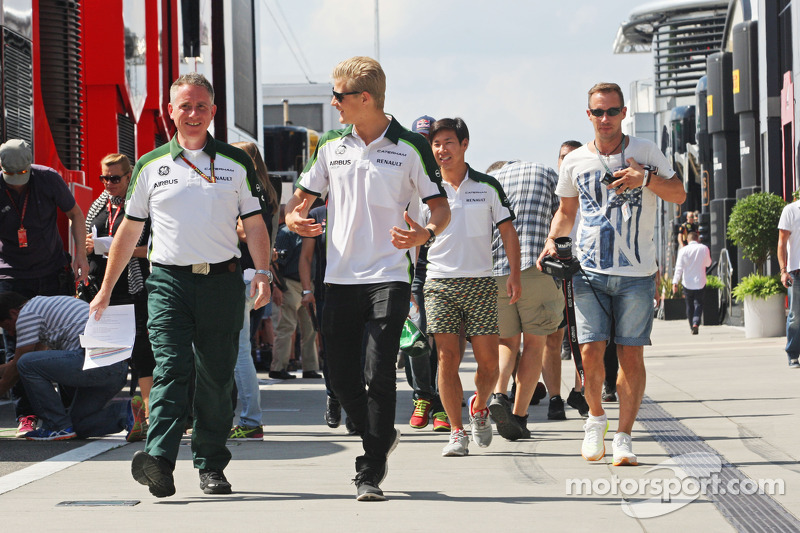 (L to R): Tom Webb, Caterham F1 Team Head of Communications with Marcus Ericsson, Caterham
