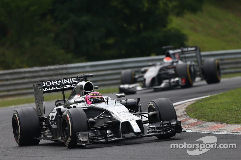 Jenson Button, McLaren MP4-29 davanti a Adrian Sutil, Sauber C33