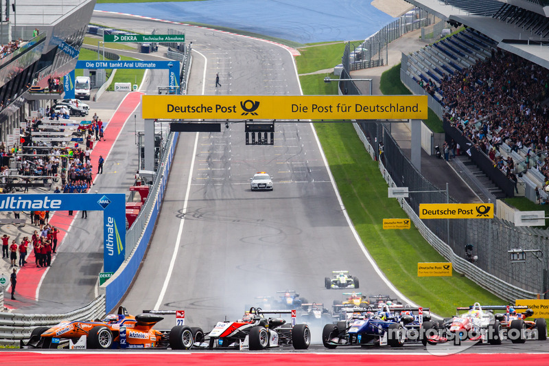 Partenza:Felix Rosenqvist, kfzteile24 Mücke Motorsport Dallara F312 Mercedes e Max Verstappen, Van Amersfoort Racing Dallara F312 Volkswagen