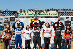 GTS Winners podium: Lawson Aschenbach (second, left), Jack Baldwin (first, center), Joey Atterbury (third, right)