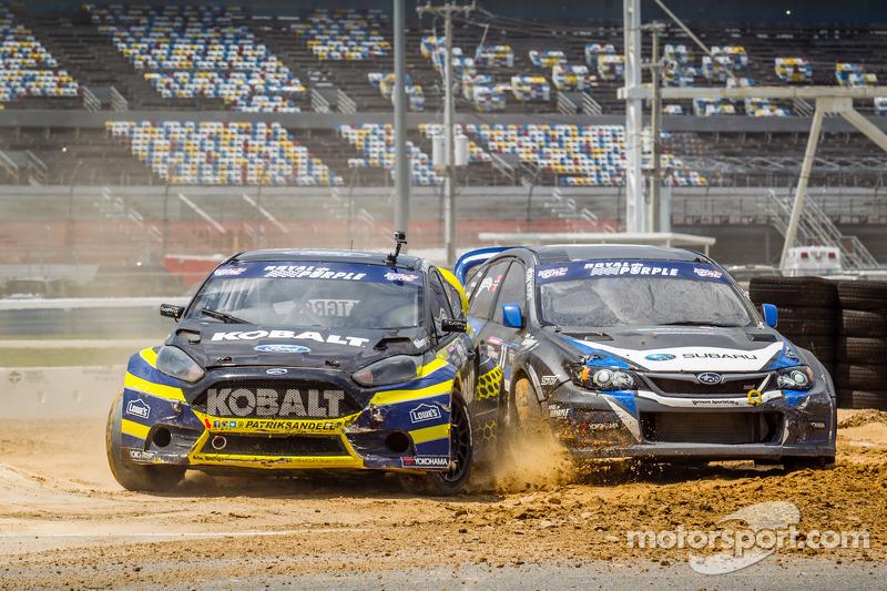 #18 Olsbergs MSE 福特嘉年华 ST: 帕特里克·桑德尔 和 #11 斯巴鲁美国拉力车队 斯巴鲁 WRX STi: 斯韦勒·伊萨克森 发生接触