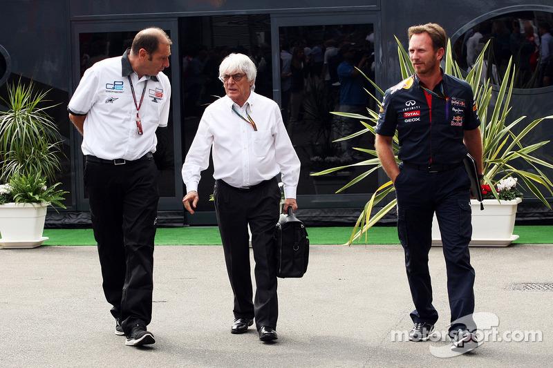 GP2首席执行官布鲁诺·米歇尔与伯尼·埃克莱斯通及红牛车队领队克里斯·霍纳