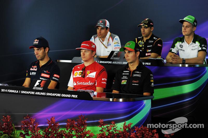 Conferenza stampa FIA: Adrian Sutil, Sauber; Pastor Maldonado, Lotus F1 Team; Marcus Ericsson, Caterham; Jean-Eric Vergne, Scuderia Toro Rosso; Kimi Raikkonen, Ferrari; Sergio Perez, Sahara Force India F1