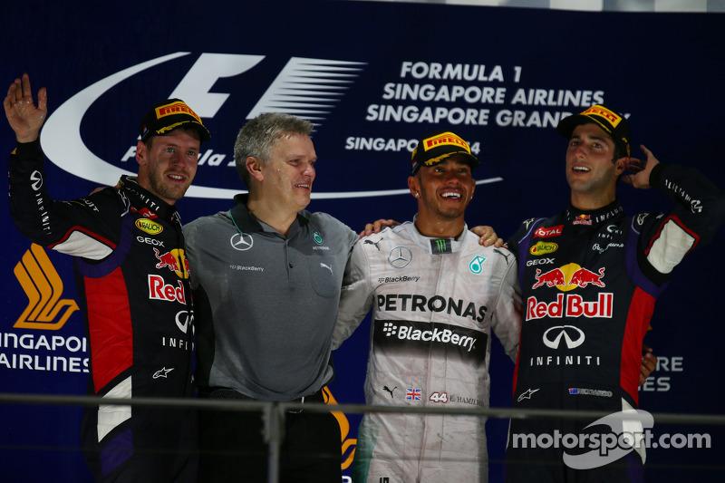 2014: 1. Lewis Hamilton, 2. Sebastian Vettel, 3. Daniel Ricciardo
