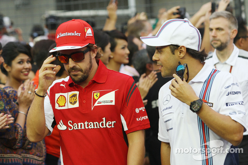 Fernando Alonso, Ferrari with Felipe Massa, Williams on the drivers parade