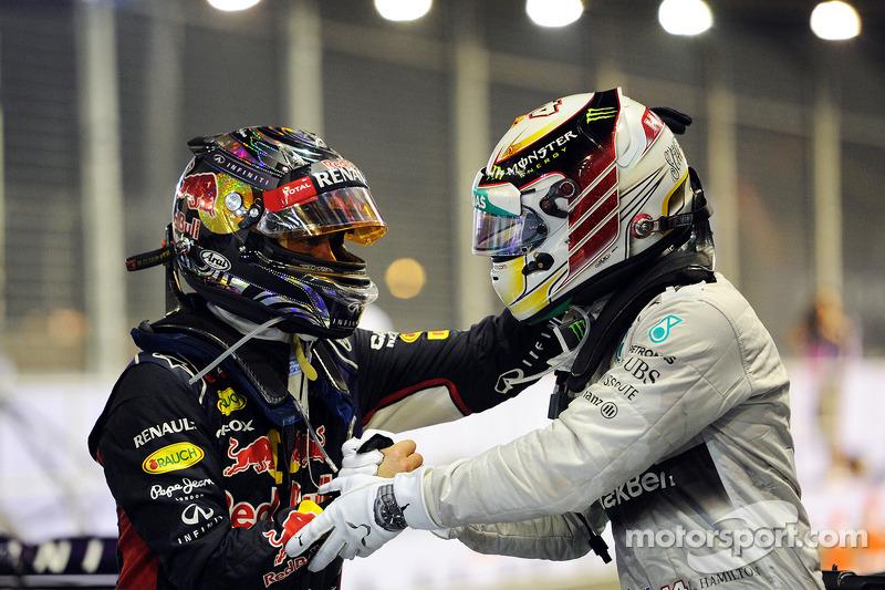 2nd place Sebastian Vettel, Red Bull Racing celebrates with race winner Lewis Hamilton, Mercedes AMG