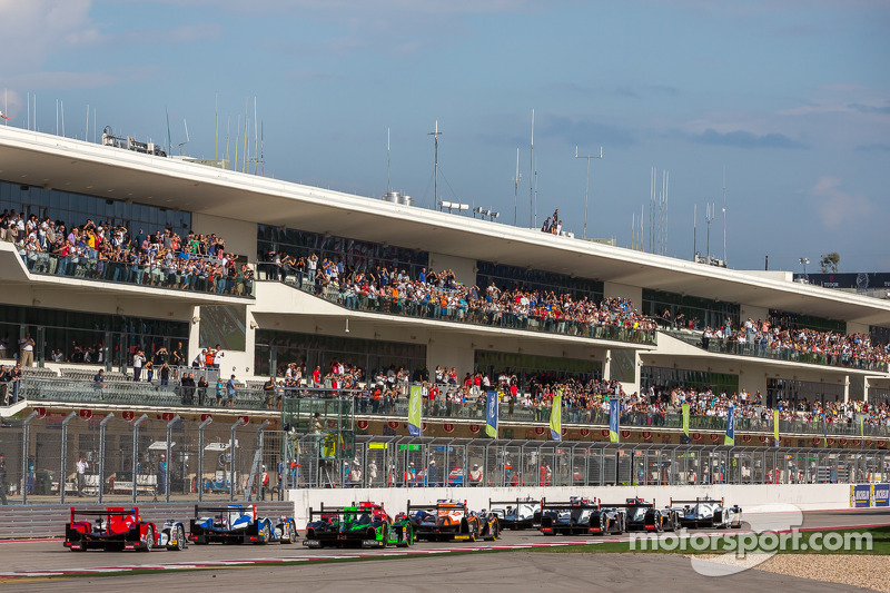 Fans watching the race start from the hospitality suites