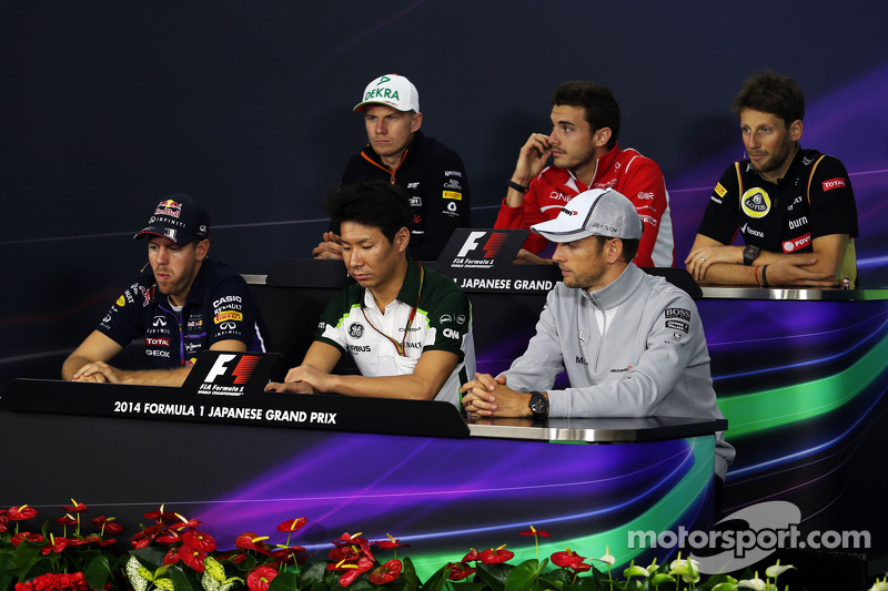 La conferenza stampa FIA: Nico Hulkenberg, Sahara Force India F1; Jules Bianchi, Marussia F1 Team; Romain Grosjean, Lotus F1 Team; Sebastian Vettel, Red Bull Racing; Kamui Kobayashi, Caterham; Jenson Button, McLaren
