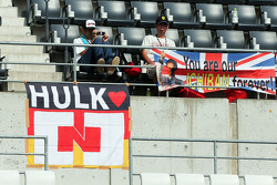 Fans and and a banner for Nico Hulkenberg, Sahara Force India F1